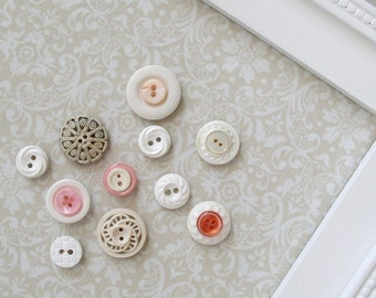 Vintage Style Button Magnets - Set of 12 in Your Choice of Colors - For Magnetic Memo Bulletin Boards Extra STRONG