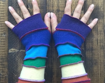 Rainbow Fingerless Gloves - Arm Warmers Made from Recycled Sweaters - Extra Long - by Playful Chameleon