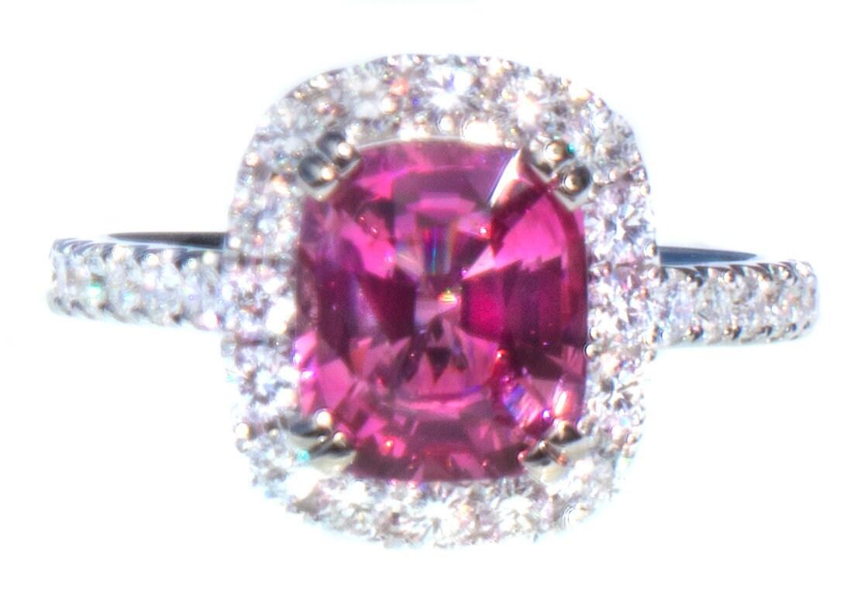 RARE Natural Hot Pink Spinel & Diamond Ring