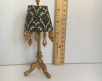Black and Gold Barbie Doll Lamp, Doll Lamp, Doll Furniture, Miniatures, 1:6 scale