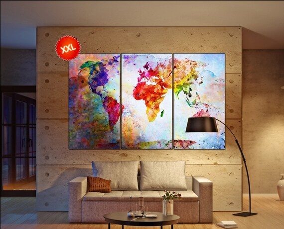 world map canvas  print on canvas Large world map canvas art artwork world map canvas World Map Print home office decoration