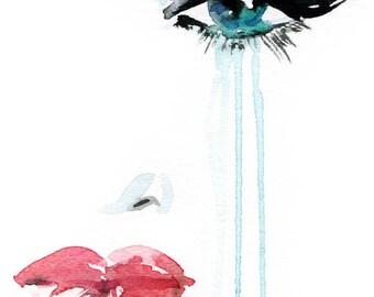 Eyes Illustration, Fashion Illustration Print, Watercolor Print, Eyeliner Art, Fashion Wall Art, Beauty Illustration, Liz Taylor Print