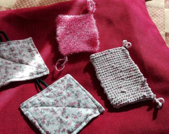 set of 4 tawashi (sponges and paper towel) recycled