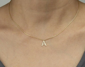 Tiny Letter Necklace -Gold Initial Necklace - Personalized Jewelry - Letter Necklace - Gift For Her - Personalized Bridesmaid Gift