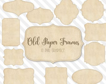 Old Paper Frames Clipart, paper texture labels, shabby chic vintage paper invitation graphics, fancy vintage shapes PNG instant download