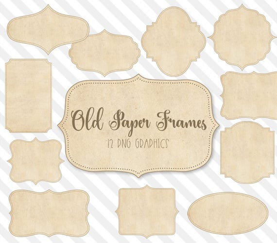 Old Paper Frames Clipart Texture Labels Shabby Chic Vintage Invitation Graphics Fancy Shapes PNG Instant Download From DigitalCurio