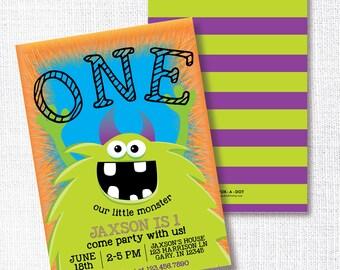 Monster Birthday Party Invitation, Printable, Little Monster Bash Invite, Boy, 1st, First, 2nd, Orange, Green, Purple, Blue, Fur, Halloween