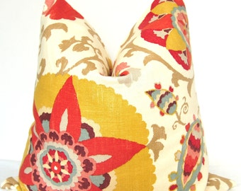 Decorative Pillow, Suzani Pillow, Red Floral Pillow, Throw Pillow, Toss Pillow, Red Suzani, Home Furnishing, Home Decor, Pillow Case