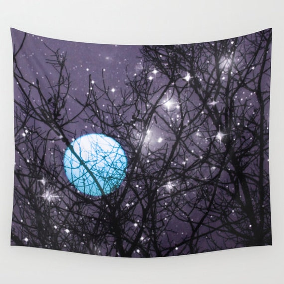 Blue Moon Wall Tapestry, Stars Tapestry, Night Sky Home Decor, Nature, Office, Wall Tapestry, Whimsical Tree Branches,Woodland, Woods, Dorm