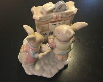 Ceramic Rabbits Figurine Playing Piano and Singing