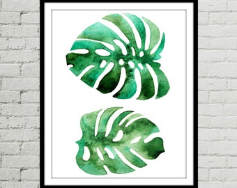 8x10 Prints, Leaf Watercolor, Botanical Print Download, Green Wall Art, Palm Leaf Print, Tropical Leaf Print, Art Prints, Wall Art Décor