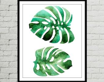 8x10 Prints, Leaf Watercolor, Botanical Print Download, Green Wall Art, Palm Leaf Print, Tropical Leaf Print, Art Prints, Wall Art Décor