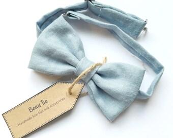 wedding bow tie, mens bow tie, powder blue bow tie, linen bow tie, mens blue bow tie