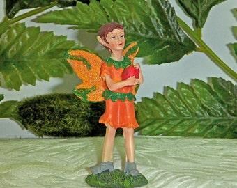 BOY FAIRY FIGURINE. Fairy with Strawberry. Handsome Sparkly Fairy. Forest Fairy.