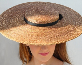 The Chenuit Hat - Grande Boater Hat w/ Wide Brim Hat For Races