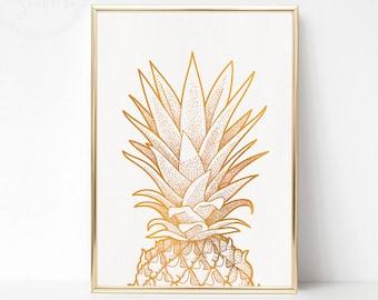 Gold Pineapple Print Art, Gold Pineapple Party, Gold White Wall Art, Gold Poster Art, Printable Pineapple Wall Art, Gold Pineapple Decor
