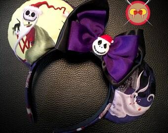 Jack Skellington as Sandy Claws Mickey Ear Headband with Sandy Claws Button