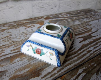 Vintage Porcelain Ink Well - Hand Painted Nippon Ink Well - Asian Inspired Home Decor Office