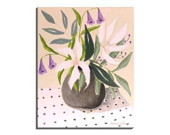"Vase Flowers, ""Flowers and Dots"", Original Floral Art"