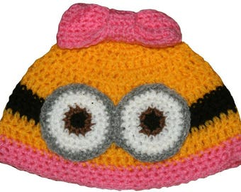 Hand Crocheted Miss Minion Hat HH 149
