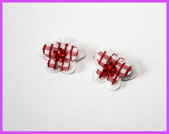 Red and White Butterfly Hair Clip Set of 2