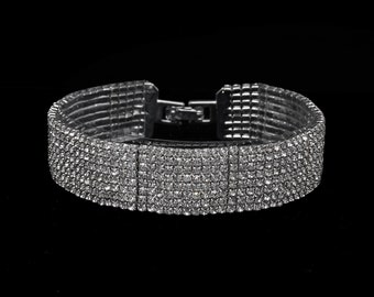 Katherine Clear Crystal Competition Bracelet for IFBB, NPC, and NANBF Bikini Fitness Bodybuilding Contests