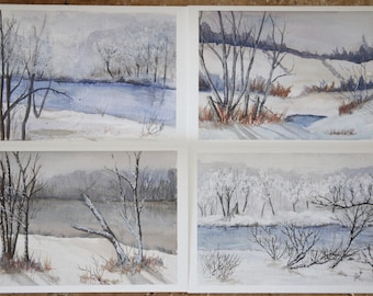 """Winter Landscape Holiday Card Set - Perfect for Christmas or Winter Solstice - 5 x 7"""" Folded Cards with Envelopes"""