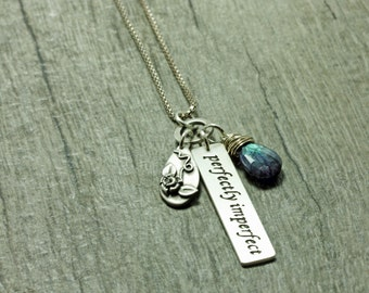 Charm Necklace Silver Necklace Personalized Handstamped Necklace Handcarved Rose Necklace