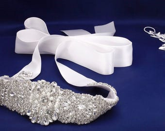 Rhinestone Applique, Crystal Bridal Sash, Beaded Bridal Belt, Bridal Sash, Bridal Dress Sash, Wedding Dress Sash Jeweled Dress Sash