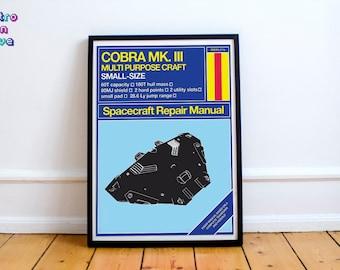 Elite Poster - Retro Gaming Spaceship poster - Cobra MkIII