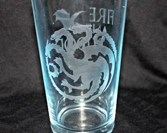 Targaryen Etched Pint Glass