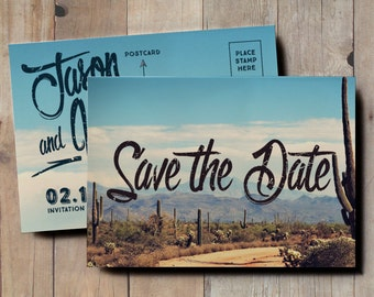 Desert Save the Date Wedding Invitation, vintage postcard save the date, cactus save the date, retro save the date, 1970s postcard, blue sky