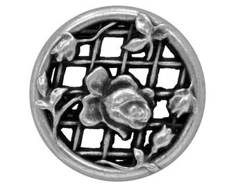4 Filigree Rose Trellis 13/16 inch ( 20 mm ) Metal Buttons Antique Silver Color