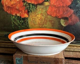 Striped Bowl Oval Serving Dish Vintage Distressed Orange Red Black Stripe White Ceramic