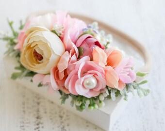 Ariella Spring Flower Headband - Flower Crown - Baby Headband - Halo - Girls Headband - Flower Halo - Partial Flower Crown -  Flower Crown