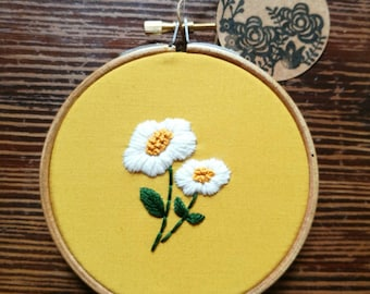 Hand Embroidered Hoop - 4 inch hoop - White Flowers