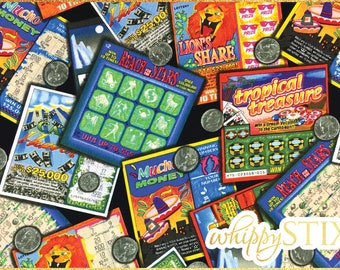 Lottery Fabric By the Yard, Lottery Tickets by Shamash & Sons 4442, BTY Coins Scratch Tickets Novelty Cotton Quilting Fabric, Hard to Find