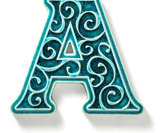 ceramic letter A, addition to the house number, turquoise