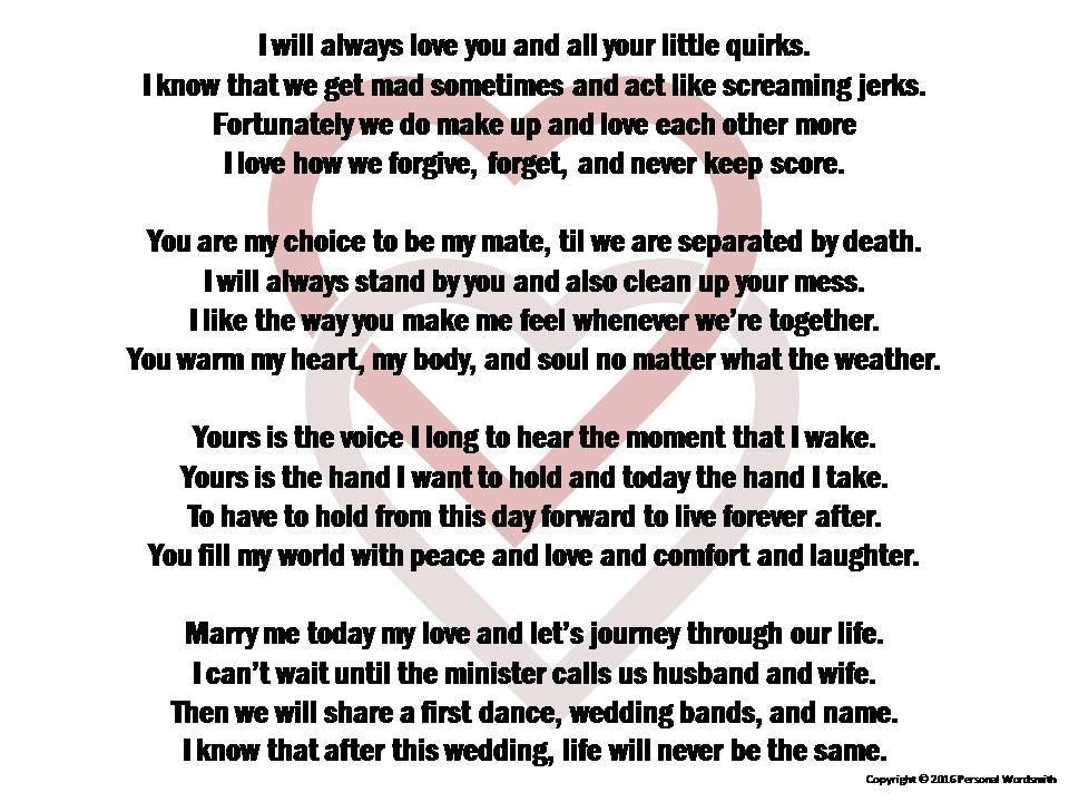 Funny Wedding Vows Digital Print Marriage Poem Download
