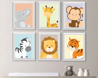 baby nursery print art animal nursery decor jungle nursery