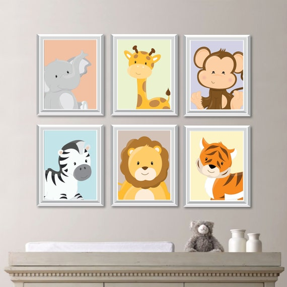Safari Nursery Decor Jungle Theme Nursery Nursery Artwork: Baby Nursery Print Art Animal Nursery Decor Jungle Nursery