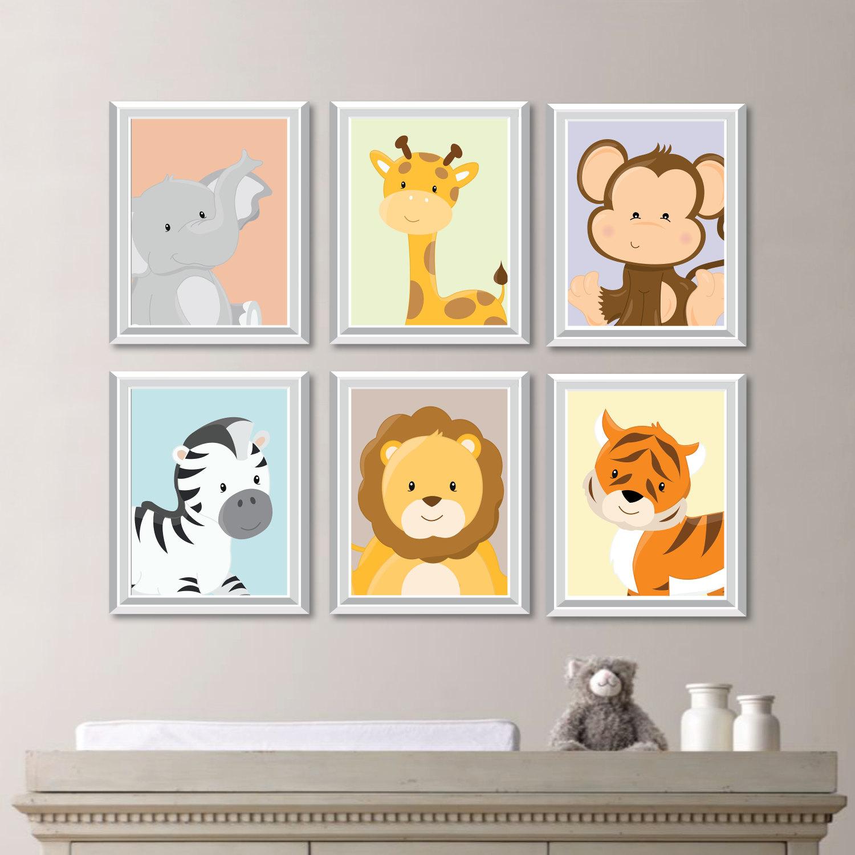 Baby Kinderzimmer drucken Kunst Tierkindergarten Dekor