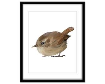 Little Brown Wren Printable Poster, Bird Art, Wall Art, Printable Art, Baby Bird Instant Download,