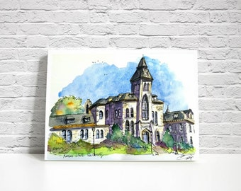 PRINT of my original Sketch of Kansas State University building. Anderson hall. Manhattan, Kansas. K- State. By Liz Vargas