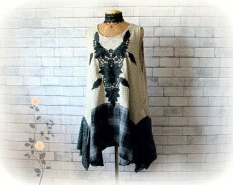 Black Lace Top Plus Size Shirt Lagenlook Tank Bohemian Clothing Artsy Style Design Swing A-Line Tunic Recycled Clothes Boho Top 3X 'TRINITY'