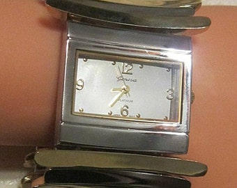 Vintage Silver and Gold Stretch Watch-Bracelet - REALLY UNIQUE