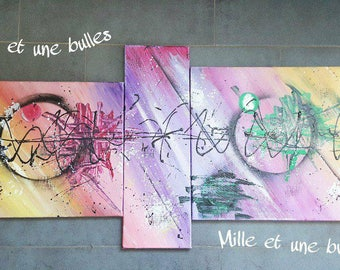 """Abstract painting triptych """"EKG"""" Purple yellow"""