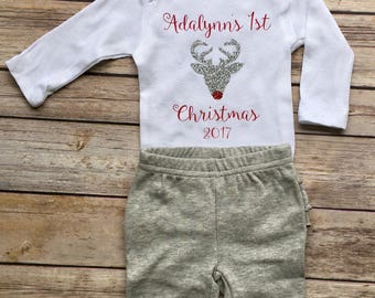 babys first christmas first christmas onesie babys first christmas bodysuit reindeer onesie glitter reindeer bodysuit 1st christmas
