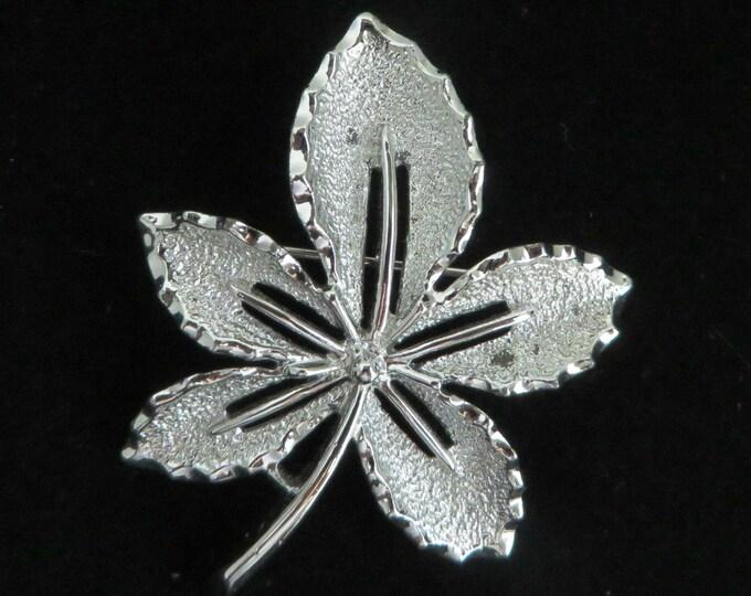 Sarah Coventry Leaf Brooch - Vintage Matte Silvertone Leaf Pin