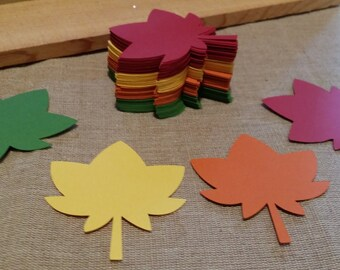 Fall Leaves Die Cut set of 24 Choose your colors, Thanksgiving decor, Autumn Leaves Die Cuts, Autumn Decor, Leaf Die Cut